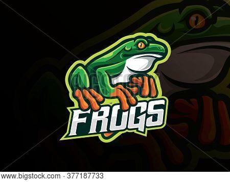 Frog Mascot Sport Logo Design. Amphibian Animal Mascot Vector Illustration Logo. Wild Frog Mascot De