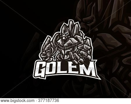 Golem Mascot Sport Logo Design. Mythology Monster Mascot Vector Illustration Logo. Giant Monster Mas