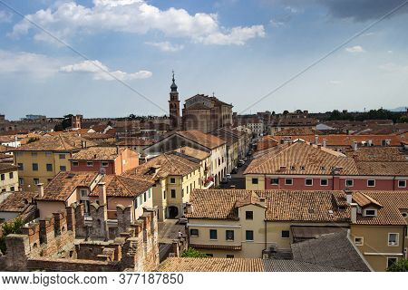 Aereal View Of The Town Of Cittadella, Italy. Fortified Town. Italian Tourism Concept