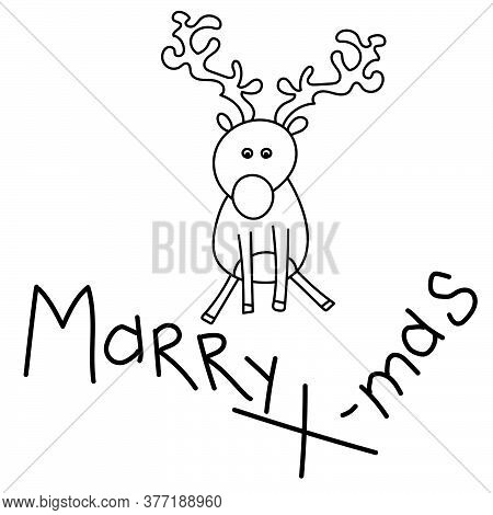 X-mas Card With Cute Deer, Outline Vector Illustration, Doodle Character For Postcard