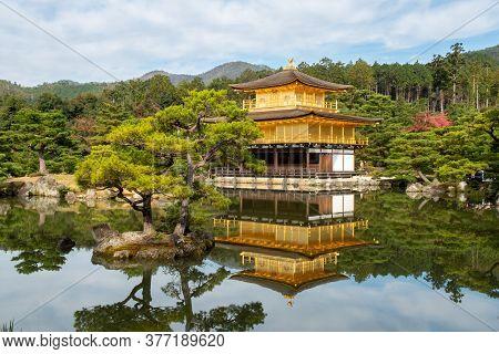 Temple Of The Golden Pavilion (kinkaku-ji) - A Buddhist Temple In Japanese Strolling Garden In Kyoto