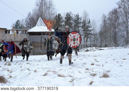 The Festival Is A Historical Reconstruction Of The Viking Age In Winter. Vikings Attack With Shields