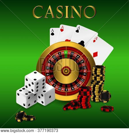 Playing Cards And Poker Chips Casino Wide Banner. Casino Roulette Concept On White Background. Poker