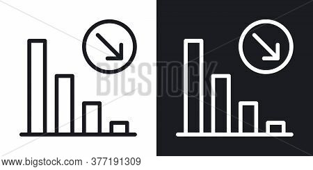 Decline Chart Icon. Concept Of Falling Stock Markets Or Declining Profits In Business. Simple Two-to