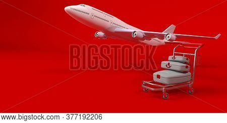 3d render of Suitcase on wheels isolated on background. Travel concept