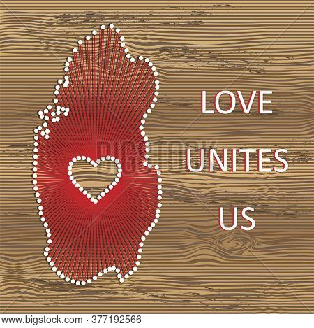 Qatar Art Vector Map With Heart. String Art, Yarn And Pins On Wooden Board Texture. Love Unites Us.
