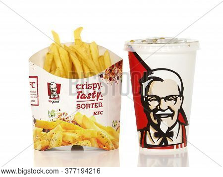 Bucharest, Romania - October 5, 2015. Kfc French Fries Box And Kfc Soda Cup. Kfc, Kentucky Fried Chi