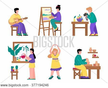 Set Of People Cartoon Characters And Their Creative And Artistic Hobbies, Flat Vector Illustration I