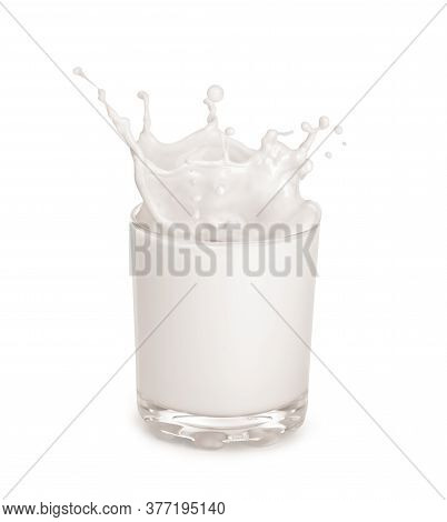 Milk In A Glass On A White Background