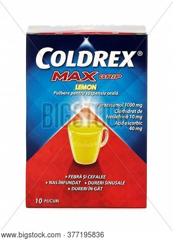 Bucharest, Romania - October 2, 2015. Coldrex Max Grip Lemon Powder, 10 Sachets. Coldrex Provides A