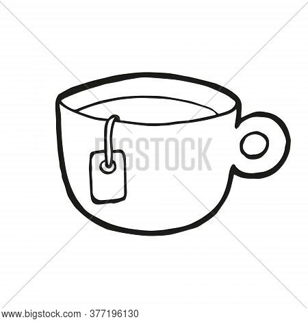Cute Hand Drawn Cup Of Tea On White Background. Vector Design In Trendy Scandinavian Style. Funny, C