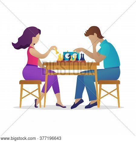 Chess Club Tournament, Family Couple Leisure Activity. Young Man And Woman Sitting At Table And Play