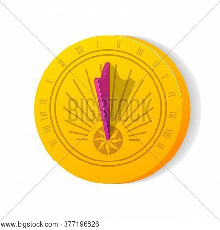 Sundial With Shadow. Ancient Clock Face With Roman Numerals. Time Measuring, Astrology Concept Flat