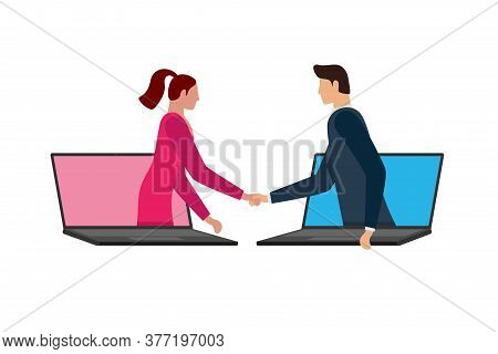 Business Man And Woman Make Deal On Distance And Shaking Hands On Laptop Screens. Web Online Agreeme