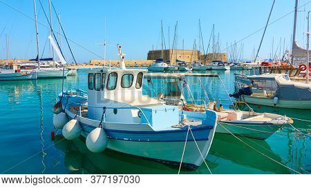 Fshing boats in the old port of Heraklion, Crete, Greece