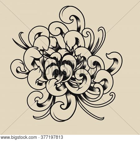 Vector Illustration Of Chrysanthemum On A Light Background.