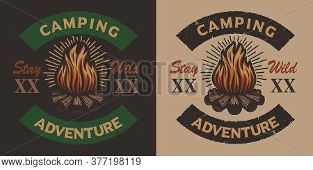 Colored Vintage Camping Emblem With Bonfire For Two Version