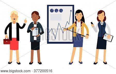 Businesswomen Characters Wearing Formal Suits Making Presentation Vector Illustration Set