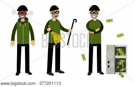 Smirking Male Burglar Or Robber In Black Mask Stealing Money From Cash Box Vector Illustration Set