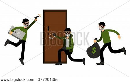 Male Burglar Or Robber In Black Mask Stealing Money And Forcing Lock With Picklock Vector Illustrati