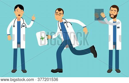 Man Doctors Wearing Medical Uniform Carrying First Aid Kit And Checking X-ray Photograph Vector Illu