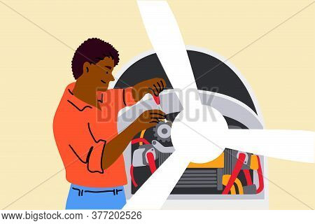 Work, Repair, Engineering, Mechanics Concept. Young Smiling African American Man Or Guy Mechanic Cha