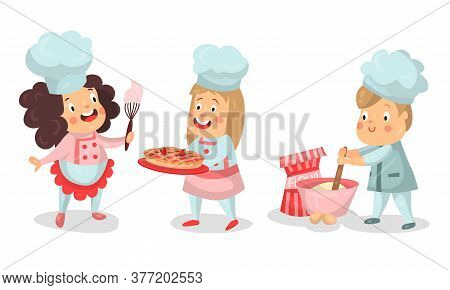 Little Boy And Girl Characters In Chef Uniform Kneading Dough And Carrying Pie Vector Illustration S