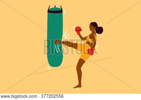 Sport, Strength, Fight, Training, Fitness Concept. Young Strong African American Woman Girl Characte