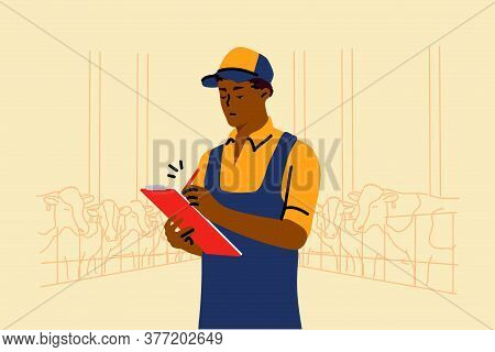 Examination, Farming, Occupation, Work Concept. Young African American Man Guy Worker Examinating Co