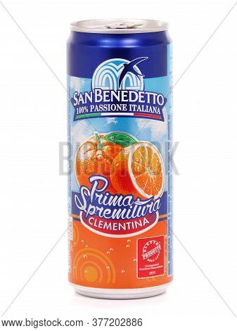 Bucharest, Romania - July 25, 2015. Can Of San Benedetto Prima Spremitura, Clementine Flavored Soft