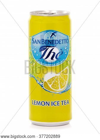 Bucharest, Romania - July 25, 2015. Can Of San Benedetto Lemon Ice Tea, A Perfect Balance Between Sw
