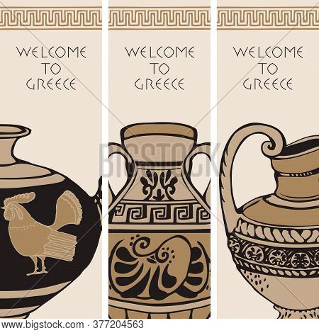 Set Of Three Travel Banners On The Theme Of Ancient Greece With Hand-drawn Greek Antique Amphorae. V