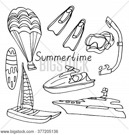 Summertime. Lettering With Water Sports Equipment: Scooter, Flippers, Mask, Snorkel, Water Parachute