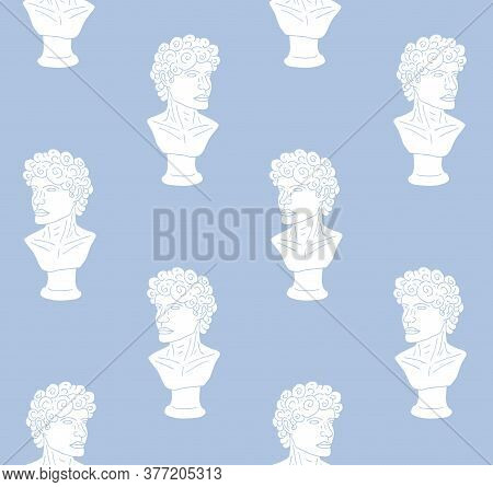 Vector Seamless Pattern Of White Hand Drawn Doodle Sketch Antique Man Bust Statue Isolated On Blue B