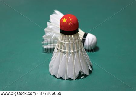 Used Shuttlecock And On Head Painted With Chinese Flag Put Vertical And Out Focus Shuttlecock Put Ho
