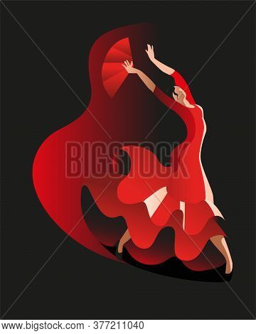 Slender Woman In A Red Dress Dancing Flamenco Dance. Vector Illustration In Black And Red. Vertical