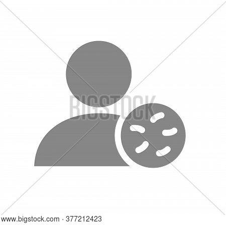 User Profile With Bacteria Grey Icon. Infections, Coronavirus, No Admittance Symbol