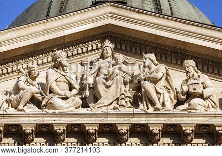 Facade Detail Of St. Stephens Basilica In Budapest, Hungary