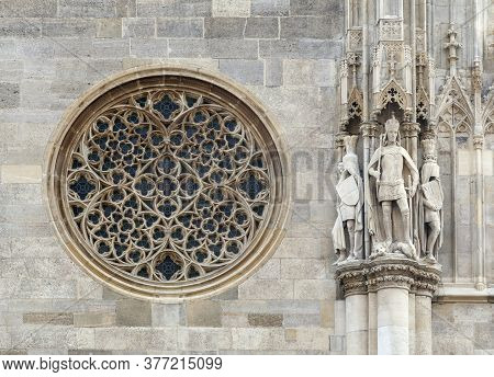 Round Gothic Window On The Facade Of The St. Stephens Cathedral, Vienna, Austria