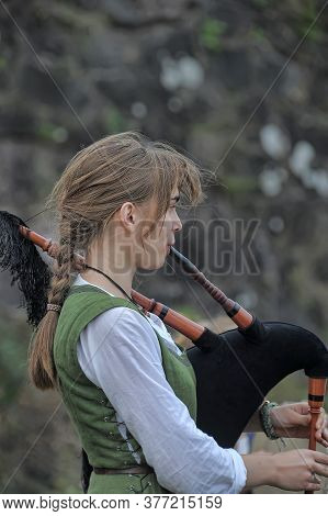Medieval Musicians With Bagpipes In Their Hands At The Norwegian Vikings Historical Festival