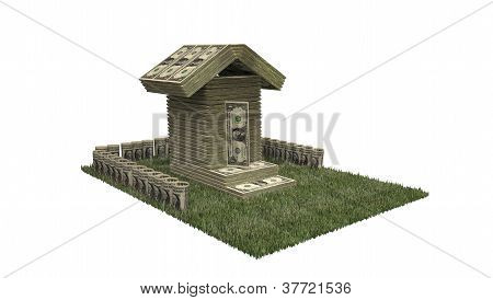 One dollar bills stock house on green grass porch