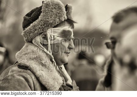 Leningrad Region, Russia - January 22, 2012: Soviet Soldiers Of World War Ii. Military-historical Re