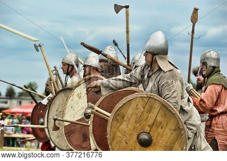 Russia, Staraya Ladoga 23,06,2012 Reenactors With Shields And Spears During The Battle, Festival Of