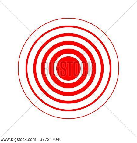 Red Rings Of Pain Graphic Sign. Symbol Locations And Growth Physical Pain, Suffering And Body Disord