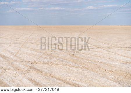 Dry Sea Endless Sand Beautiful Clouds Beautiful Landscape Estuary. Azove Sea