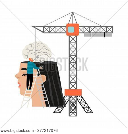 Conceptual Illustration Of The Benefits Of Education With A Huge Head And A Tower Crane Loading The