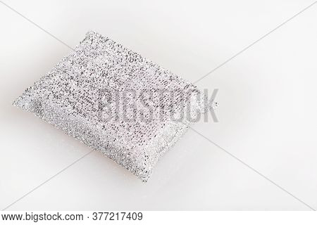 Sponge On White Background. Silver Sponge For Cleaning The Home