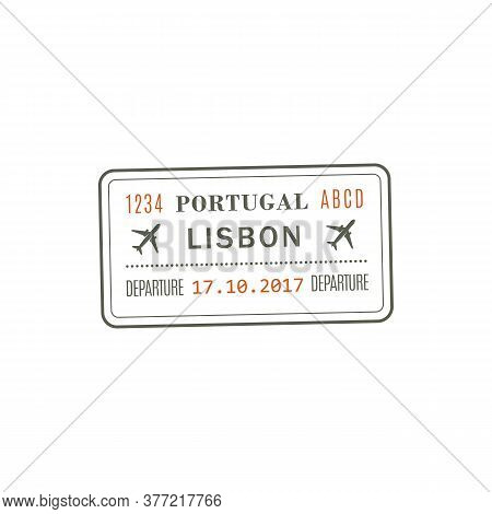 Portugal Departure Visa, Passport Control Stamp Vector Isolated Icon. Destination Insignia, Lisbon C