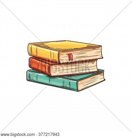 Stack Of Textbooks With Bookworm Isolated Sketch. Vector Pile Of Books, Education And Knowledge Symb