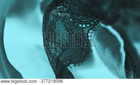 Black Silk Lace Lingerie, Aquamarine Panoramic Background